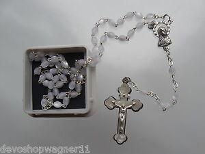 Kinder Rosenkranz weiß Kommunion Geschenk mit Dose Rosary Chaplet  Neu