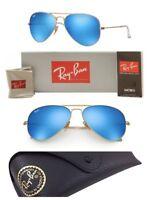 Ray-Ban Aviator Sunglasses RB3025 Blue Mirror G-15 Lens 58mm Matte Gold Frame