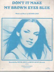 """CRYSTAL GAYLE  Rare 1976 Aust Only OOP Original Sheet Music """"Brown Eyes Blue"""""""