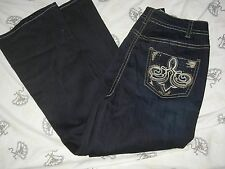 LANE BRYANT 26 Embellished Boot Cut Mid Rise Dark Wash Jean 26W