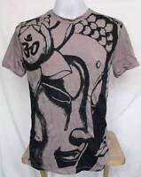 "Buddha Face Print Wrinkle Soft COTTON MEN T-Shirt Tee Armpit 19"" Sz S Small"