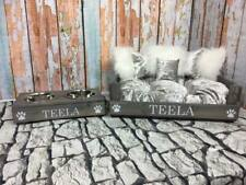 PERSONALISED (M) GREY AND SILVER PET BED & SMALL BOWLS SET + EMBROIDERED PILLOW