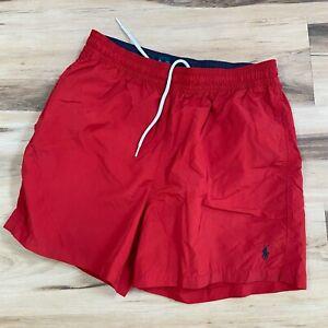 Polo Ralph Lauren Mens Red Swim Trunks Lined Drawstring Size Medium