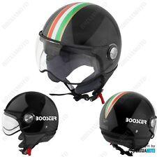 Casco Demi Jet Helmet Moto Homologado Negro Tricolor Central Booster