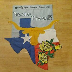 "Texas Proud Yellow Rose-  Longhorn House Flag-Double Sided Appliquéd-44""x36"""