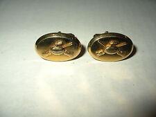 Vintage Signed ANSON Men's Goldtone Curling Oval Cufflinks