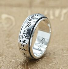 925 STERLING SILVER Om Mani Padme Hum  rotate RING  jewelry  size 7-12   S2784