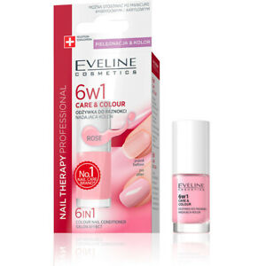 Eveline 6 in 1 Care & Colour Nail  Conditioner Nail Therapy Rose 5ml