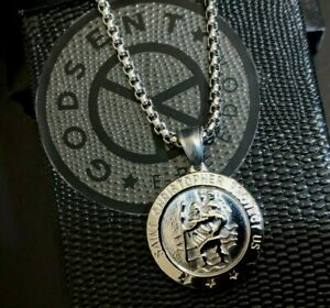 Mens Personalised Large St Christopher Silver Steel Necklace, Father's Day Gift