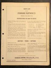 1957 Evinrude Fleetwin 7.5hp Models 7522 & 7523 Outboard Motor Parts Catalog