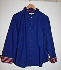 Boden Beautiful Blue Crisp Cotton Shirt with Ribbon Striped Cuffs Size 22