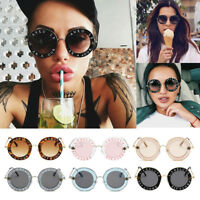 Retro Round Sunglasses Letters Bee Metal Frame Circle Glasses Eyewear Women Men
