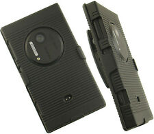BLACK RUBBERIZED HARD CASE COVER BELT CLIP HOLSTER STAND FOR NOKIA LUMIA 1020