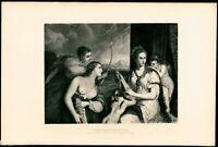 Venus Blindfolding Love V Focillon 1880's Titian steel engraved print