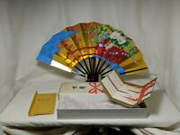 Vintage 1960's Gold Foil Japanese Folding Fan Business Gift