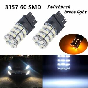 10X 3157 60 SMD Dual Color Switchback LED Bulbs Auto Car Turn Tail Signal Brake
