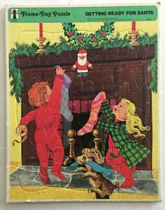 FRAMED TRAY PUZZLE GETTING READY FOR SANTA 1973 RAINBOW WORKS #75900-1