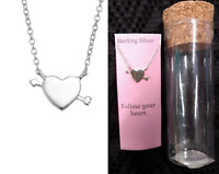"Kohl's 16-18"" Sterling Silver FOLLOW YOUR HEART Arrow Pendant Dainty Necklace!!!"