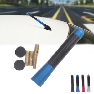 "Universal 3"" Blue Aluminum Alloy Carbon Fiber FM AM Radio Car Antenna Aerial BA"