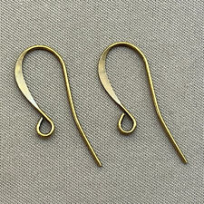 Antique Brass Plated Alloy 25x9mm Flat French Hook Earwires Q20 Pair per Pkg