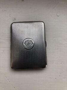 "Vintage Sterling Silver Cigarette Case, hallmark London 1915, 3"" X 2"""