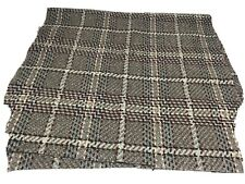 Wool tweed fabric remnant Brown Blue Pink Check Mix 83cm x 40 Cm