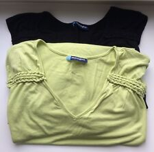 2 Penningtons Womens Plus Size 6X Lime Green+ Black Camisole Tops Braided Detail