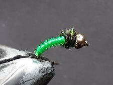 1 DOZEN  TUNGSTEN HEAD GREEN NYMPHS FOR FLY FISHING-TUNG 165