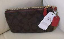 Coach Signature PVC Leather with Zip & Wristlet Wallet F54629 - Brown True Red