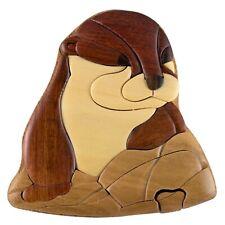 Wood Intarsia Otter Puzzle Box - Secret Trinket Box Inside! Handcrafted New
