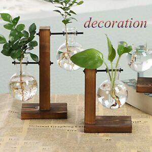 Vintage Planter Flower Pot Hydroponic Plant Vases Wooden Frame Glass Vase