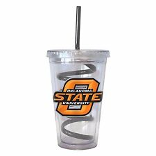 NCAA Oklahoma State Cowboys 16 oz Double Wall Acrylic Tumbler with Swirl Straw