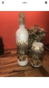 Beautiful HEDGEHOG LIGHT Decoupage Bottle/handmade/gift/christmas/unique