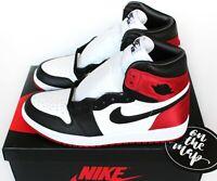 Nike Air Jordan 1 Retro High OG W Satin Black Toe Red UK 3 4 5 6 7 8 9 US New