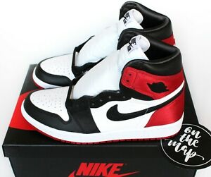 Nike Air Jordan 1 Retro High OG W Satin Black Toe Red UK 3 4 5 6 7 8 9 US New
