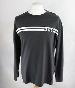 Mens LEVIS Long Sleeve T-Shirt Size XL Dark grey Pullover Sweatshirt Lightweight
