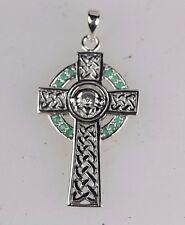 CELTIC CLADDAGH SILVER 925 EMERALD GREEN IRISH CROSS PENDANT