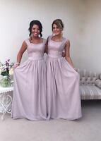 2 Shoulder Silver/Grey/Mink Bridesmaid Wedding Evening Party Dress Lace Chiffon