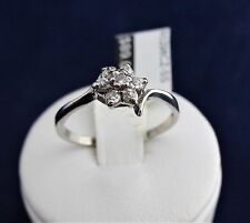 SOLID STERLING SILVER CLUSTER RING 1x2.5mm & 6x2.0mm cubic zirconias 1.4gr.