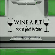 Wine A Bit Vinyl Wall Art Wall Quote Sticker Dinning Kitchen Removable Decals LJ