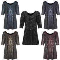 Women's Plus Size Smocked Tunic Gypsy Shiny Sequin Polka Dot Top 3/4 Slv 14-26