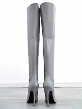 LANG LEDER OVERKNEE Stiefel 1969 Italy B157 High Heels Boots