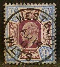 KEVII sg251a 9d slate-purple & ultramarine with superb 1911 WESTBURY WILTS cds