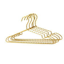 "30P 15.7"" Gold Aluminium Wire Hanger Twisted Flowers Metal Clothes Coat Hangers"