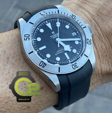 22mm BLACK Vulcanized Rubber Strap Band PERFECT FIT on TUDOR Black Bay Watches