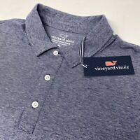 Vineyard Vines Edgartown Men's Deep Bay Blue Striped Short Sleeve Polo Shirt New