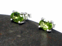 PERIDOT Sterling Silver 925 Oval Gemstone Earrings / STUDS  -  Gift Boxed!
