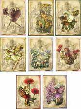 Vintage inspired fairy flower tag blank small card scrapbook altered art set 8