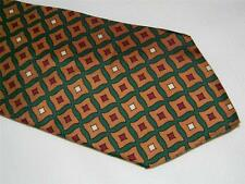 Classic BROOKS BROTHERS 100% SILK BROWN/GOLD RED GREEN GEOMETRIC mens NECK TIE