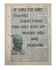 Sun Tzu Quote Art Printed On Antique Encyclopedia Page Vintage Home Decor